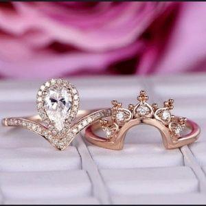 HP🌸Rose Gold Pear Cut Bridal Set